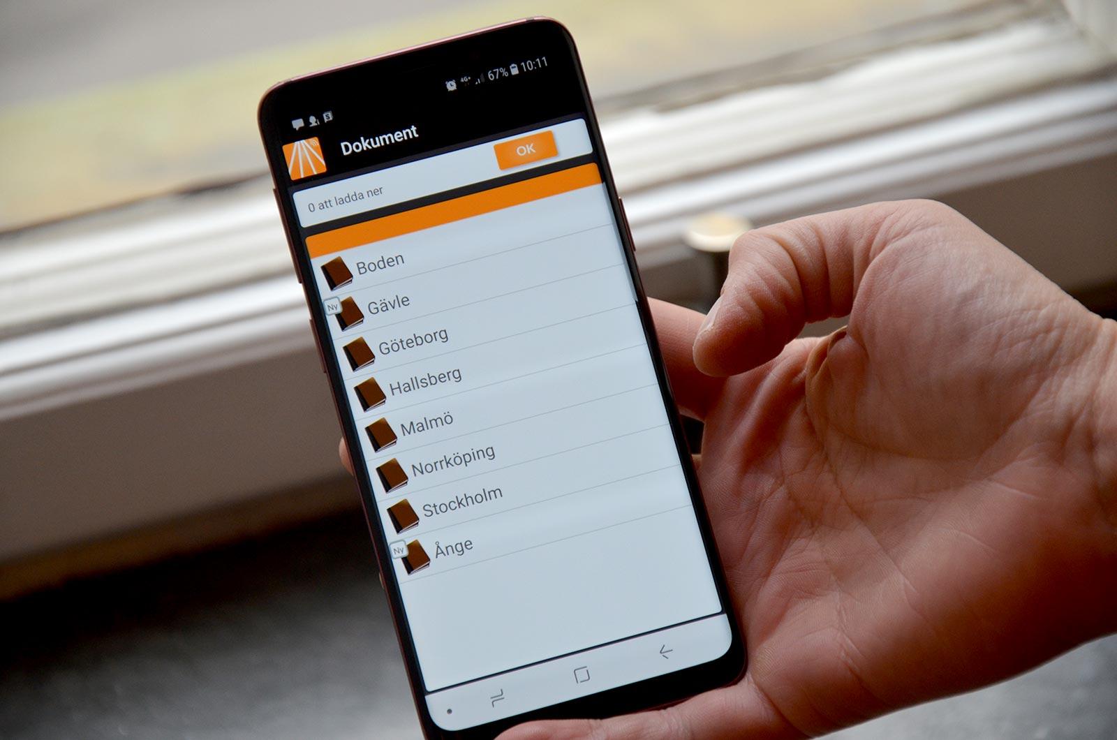 Info Tracker - dokumentvy mobiltelefon