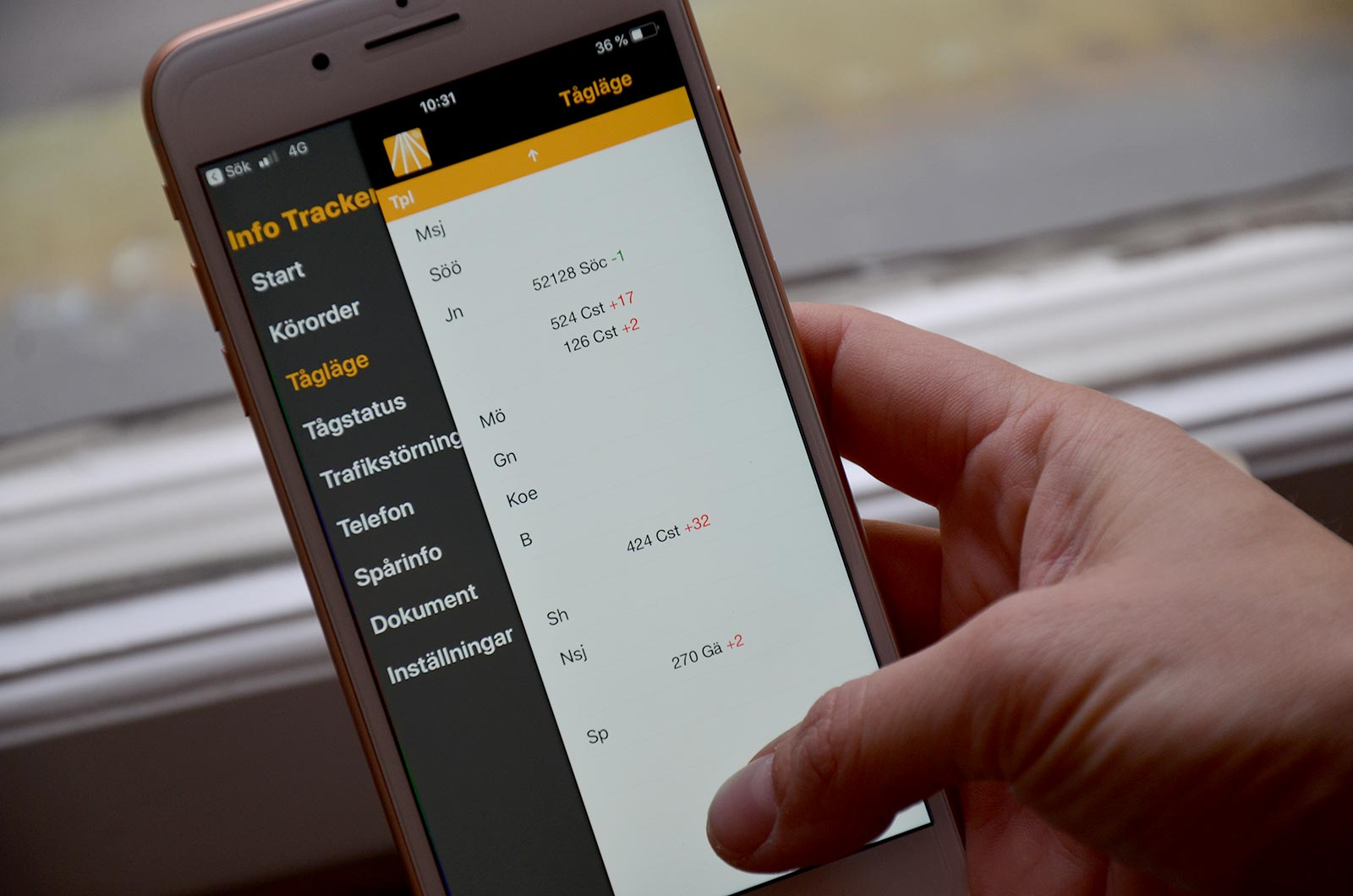 Info Tracker - tågläge mobiltelefon