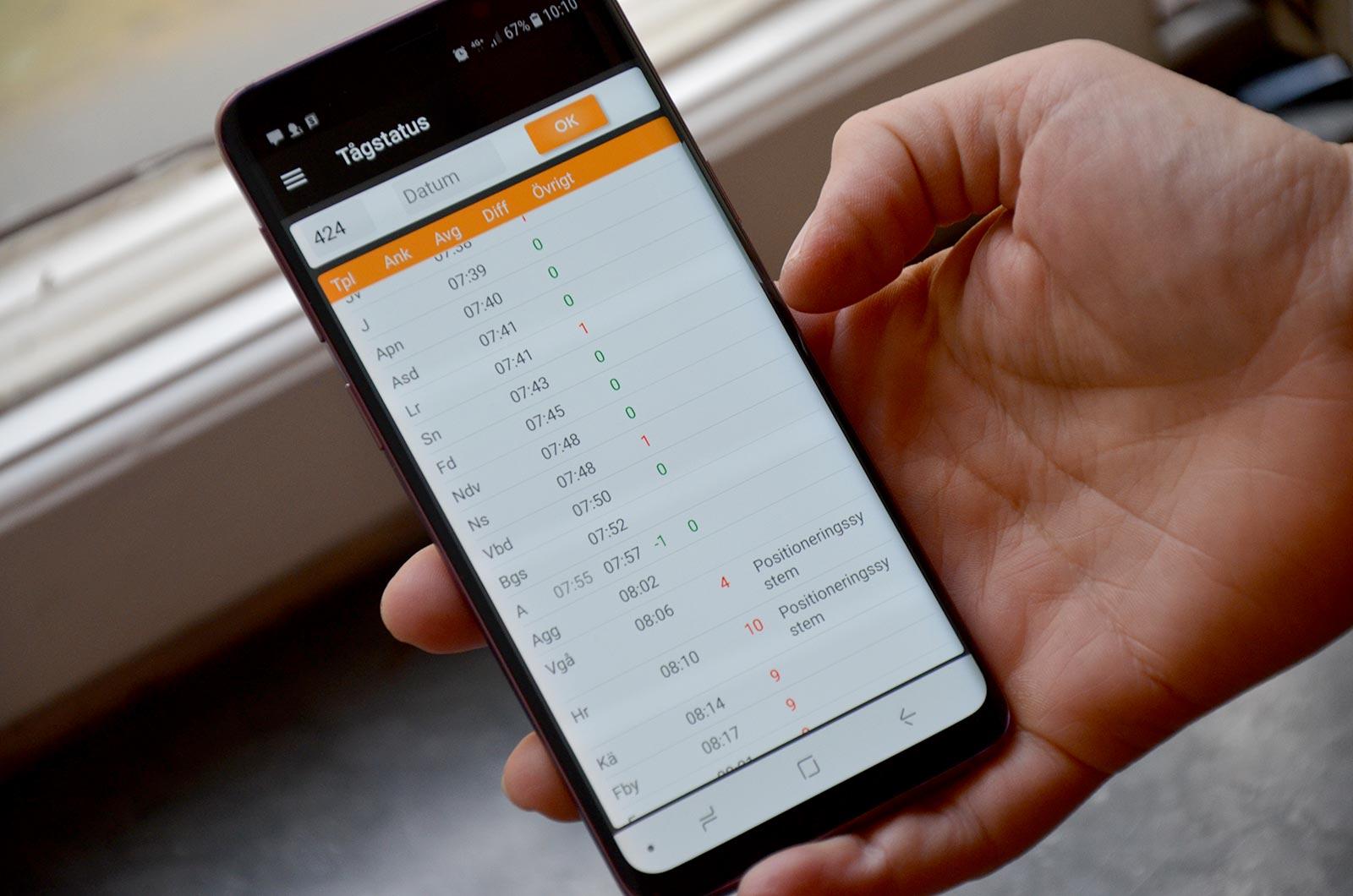 Info Tracker - tågstatus mobiltelefon
