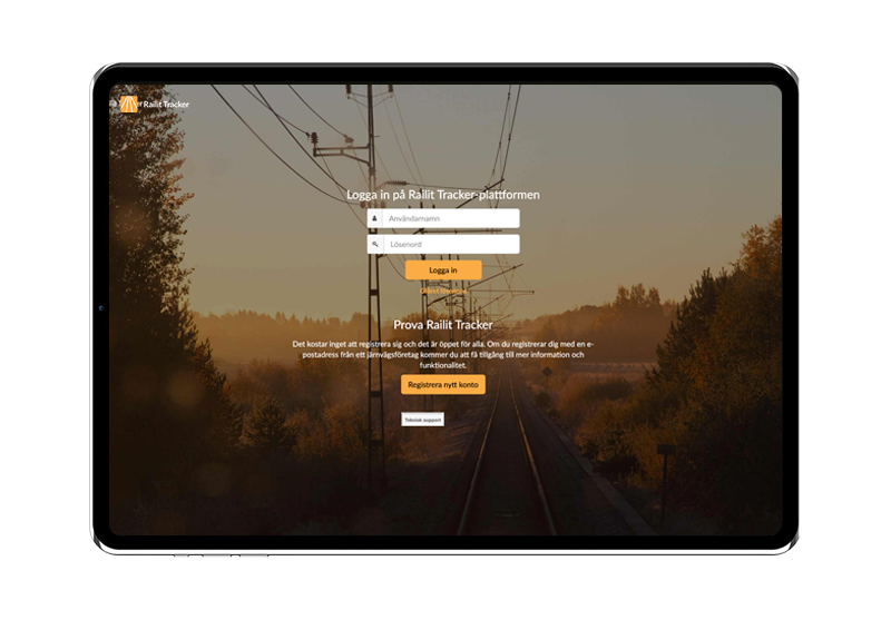 Railit Tracker loginpage